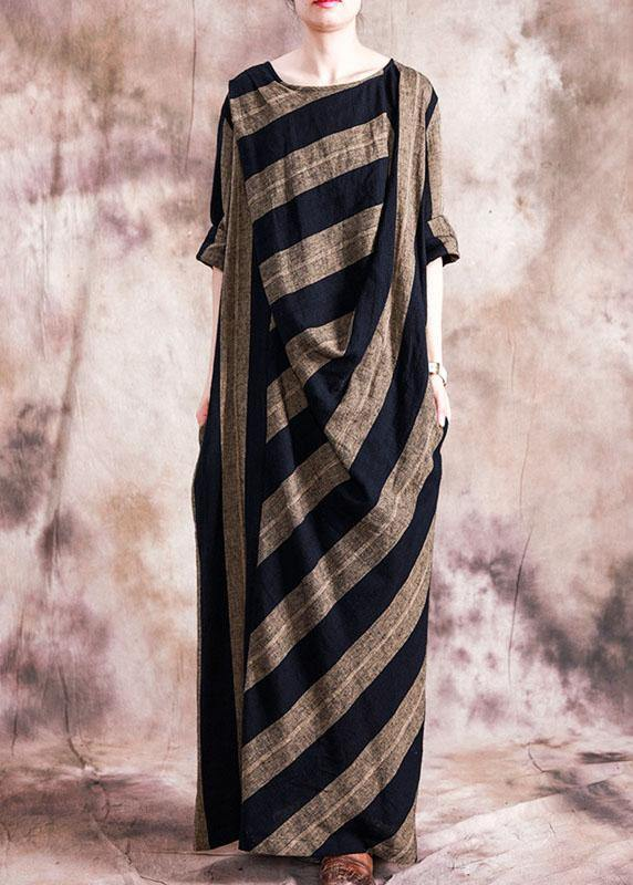 Classy o neck patchwork cotton clothes For Women Catwalk black striped Dresses fall