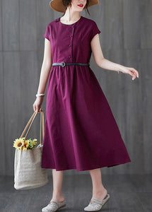 Classy o neck patchwork linen cotton summer clothes For Women Sewing red Dress