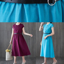 Load image into Gallery viewer, Classy o neck patchwork linen cotton summer clothes For Women Sewing red Dress