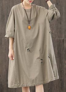 Classy o neck wrinkled clothes Wardrobes gray Dresses