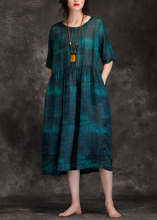 Classy o neck wrinkled linen Robes plus size Photography blackish green long Dress Summer