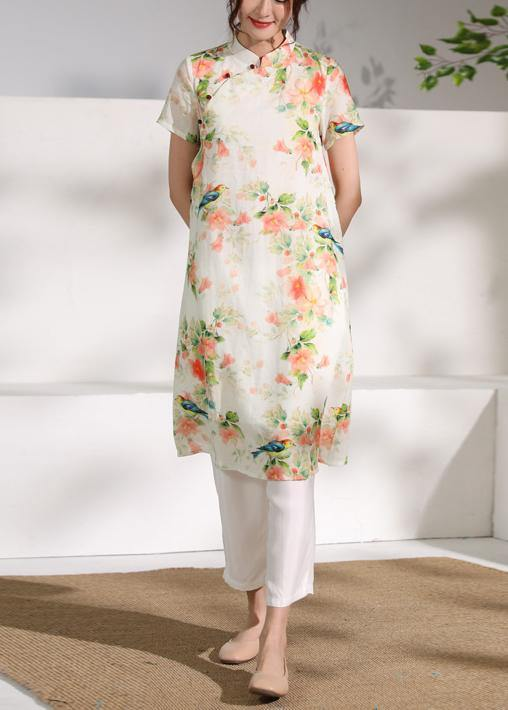 Classy orange floral linen clothes short sleeve Dresses o neck Dress
