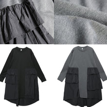 Load image into Gallery viewer, Classy patchwork Cotton Wardrobes plus size Sleeve gray baggy Dress
