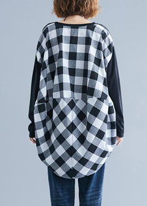 Classy patchwork Plaid low high design cotton for women Inspiration black top fall