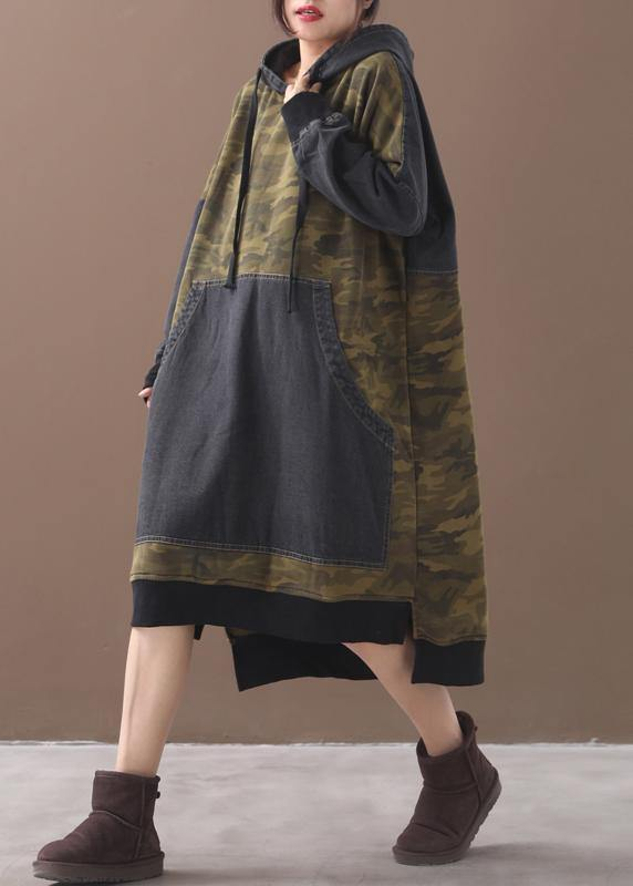 Classy patchwork cotton hooded quilting dresses Shape green Camouflage Plus Size Dresses