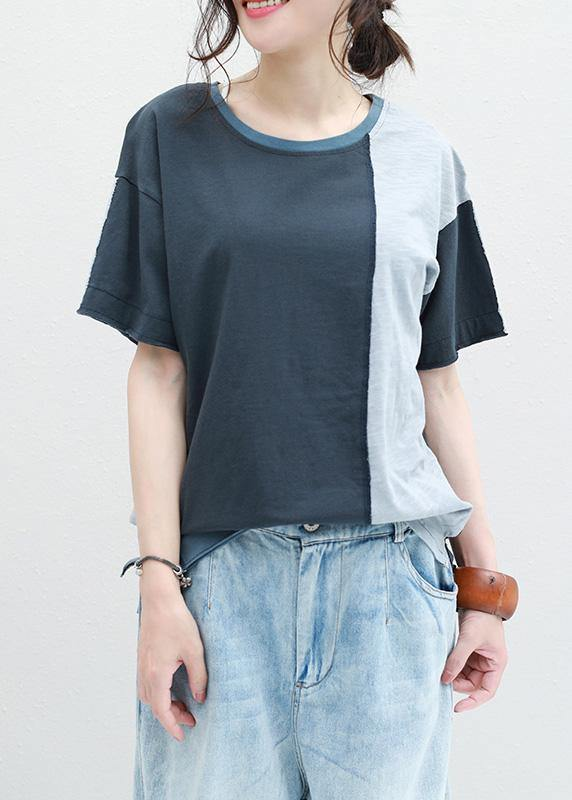 Classy patchwork cotton shirts women short sleeve o neck shirts