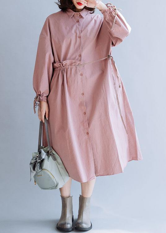 Classy pink Fashion clothes For Women drawstring lapel fall coats