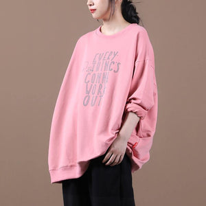Classy pink Letter tunics for women o neck patchwork oversized top