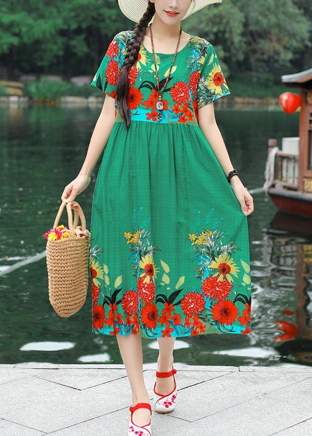 Classy print cotton clothes Women Tutorials green Robe Dress summer