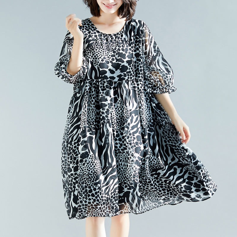 Classy prints chiffon Long Shirts Women design o neck Vestidos De Lino cotton summer Dresses