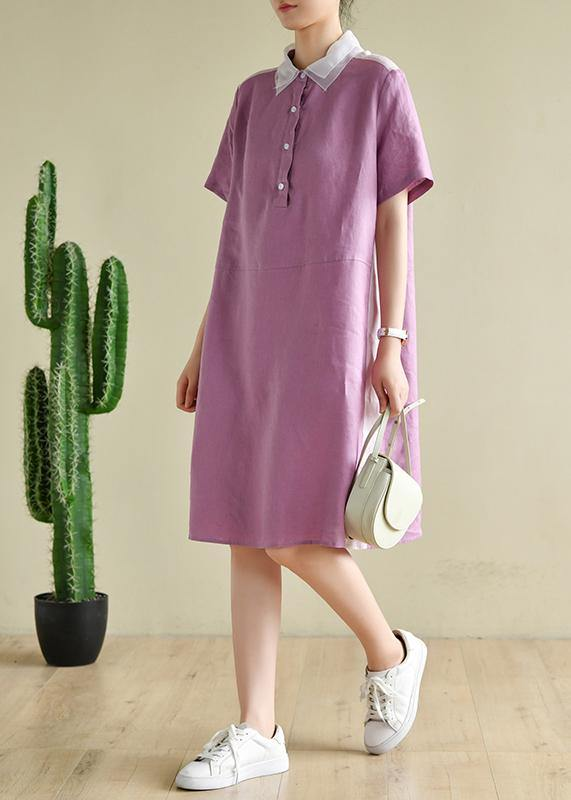 Classy purple Tunics lapel patchwork Knee summer Dresses