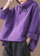 Load image into Gallery viewer, Classy purple cotton top silhouette thick Knee high neck tops