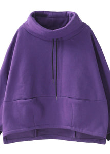 Classy purple cotton top silhouette thick Knee high neck tops