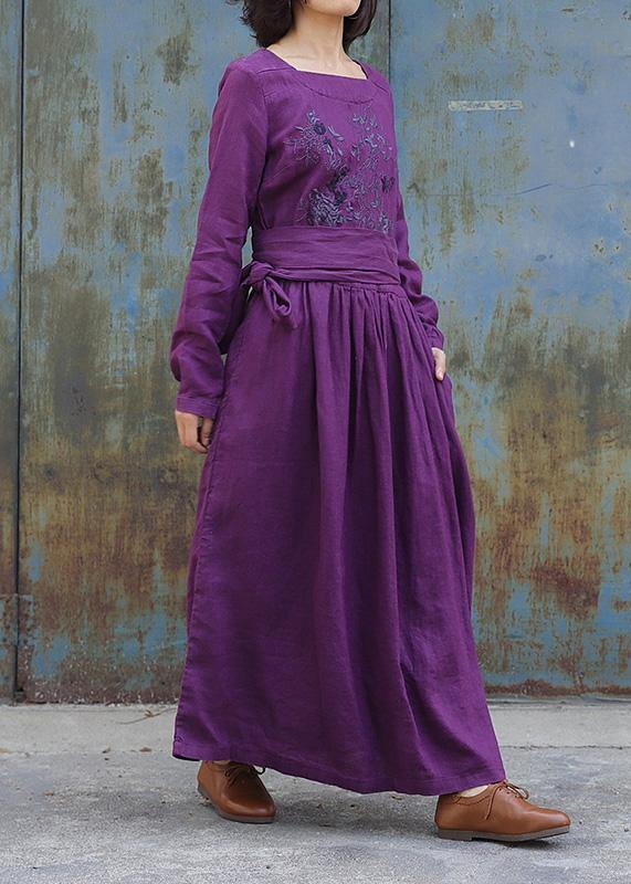 Classy purple linen clothes For Women tie waist loose embroidery Dress