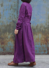 Load image into Gallery viewer, Classy purple linen clothes For Women tie waist loose embroidery Dress