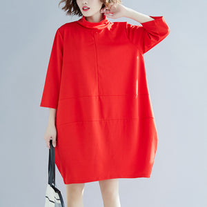 Classy red Cotton clothes Indian linen high neck A Line spring Dress