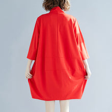 Load image into Gallery viewer, Classy red Cotton clothes Indian linen high neck A Line spring Dress