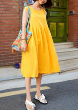 Load image into Gallery viewer, Classy sleeveless Bow cotton clothes For Women Wardrobes yellow Dresses