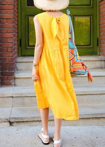 Classy sleeveless Bow cotton clothes For Women Wardrobes yellow Dresses