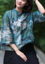 Load image into Gallery viewer, Classy stand collar linen summer Shirts Cotton green print shirt