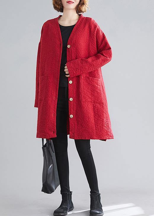 Classy v neck Button Fine Coats Women red daily outwear