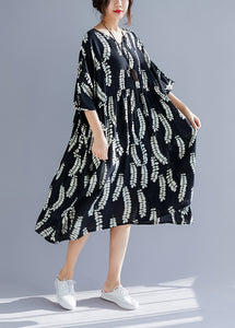 Classy v neck large hem linen clothes For Women Plus Size Catwalk black print cotton Dresses Summer