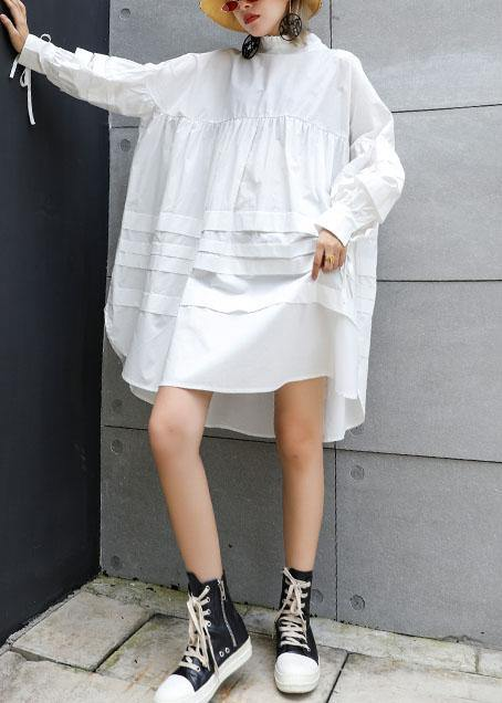 Classy white Cotton tunic top Puff Sleeve short fall Dresses