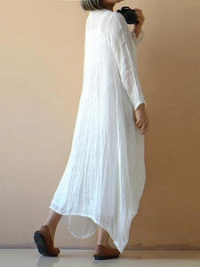 Classy white cotton clothes Women o neck asymmetric Plus Size spring Dresses