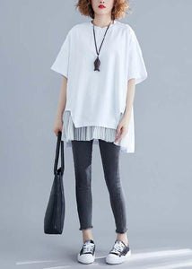 Classy white linen top silhouette Inspiration o neck patchwork summer blouse