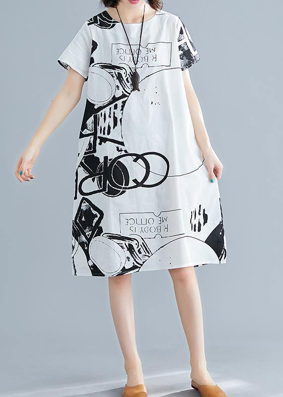 Classy white print linen Wardrobes o neck short sleeve shift summer Dress