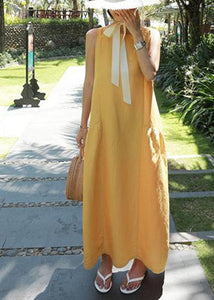 Classy yellow cotton Wardrobes o neck sleeveless Maxi summer Dresses