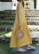 Load image into Gallery viewer, Classy yellow cotton Wardrobes o neck sleeveless Maxi summer Dresses