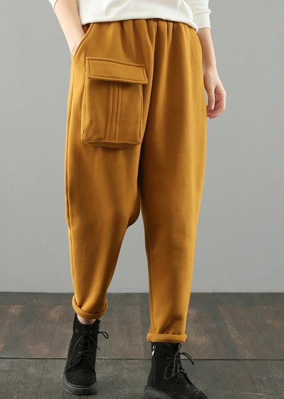 Classy yellow vintage pockets harem pants Gifts wild pants
