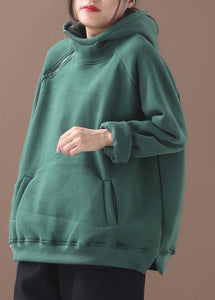 Classy zippered cotton hooded blouses for women Inspiration green thick blouse