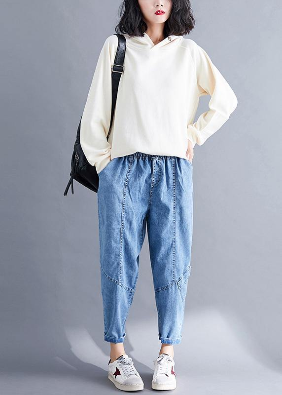 Classy Spring Women Pants Fashion Denim Blue Photography Elastic Waist Patchwork Pant