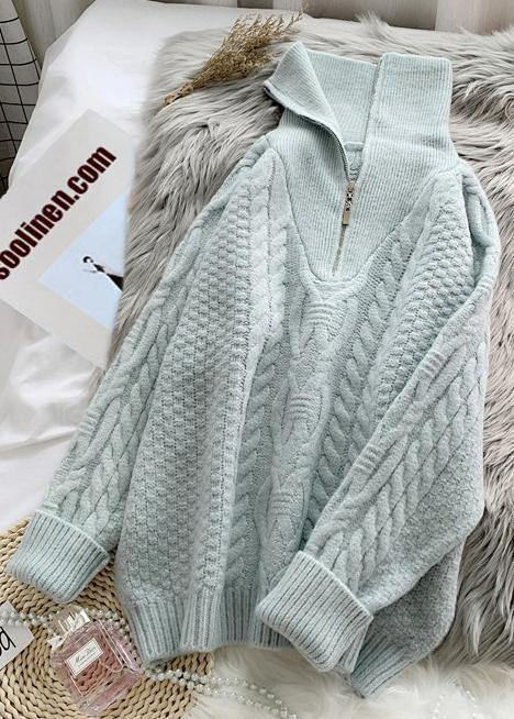 Comfy  light green knitted blouse trendy plus size high neck zippered knit tops