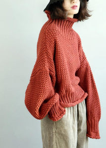 Comfy  red knit tops fall fashion high neck lantern sleeve top