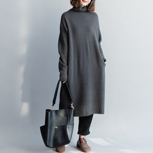 Comfy Sweater dress outfit Quotes high neck baggy dark gray baggy knitwear