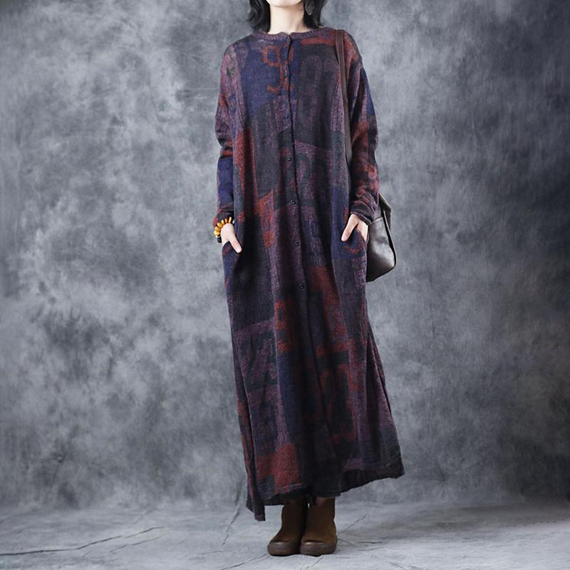 0c1a4651ec Comfy Sweater dress outfit Women Knitted Printing Split Pleated Spring Maxi  Dress