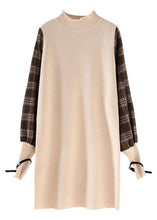 Load image into Gallery viewer, Comfy beige clothes patchwork sleeveless trendy plus size spring knitwear