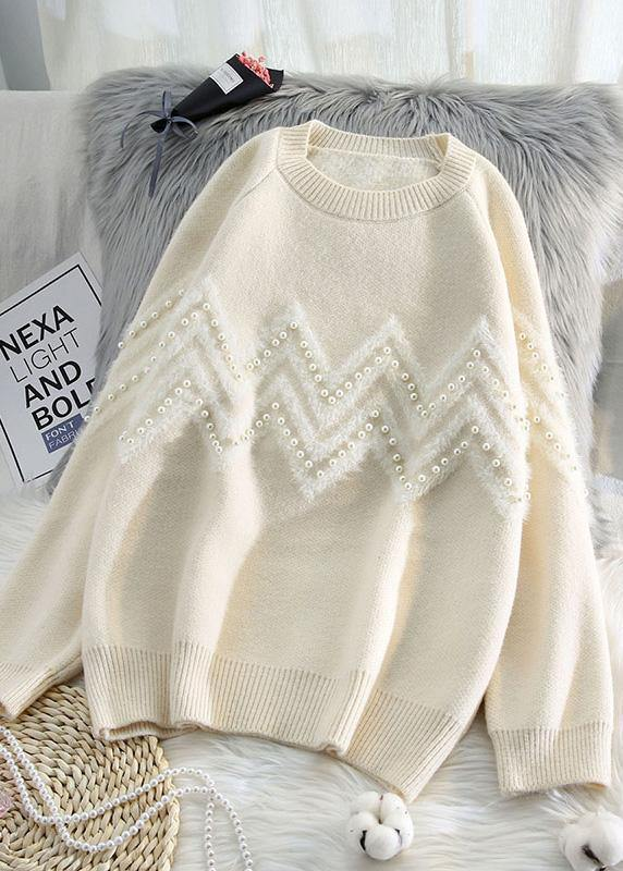 Comfy beige knitted t shirt o neck Loose fitting knitwear