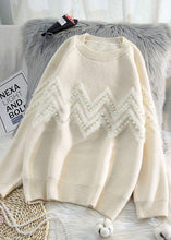 Load image into Gallery viewer, Comfy beige knitted t shirt o neck Loose fitting knitwear