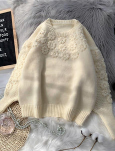 Comfy beige knitted top o neck embroidery oversize knit tops