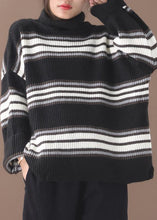 Load image into Gallery viewer, Comfy black striped clothes oversized winter sweaters high neck