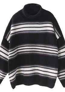 Comfy black striped clothes oversized winter sweaters high neck