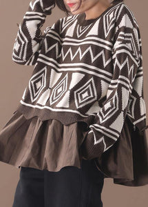 Comfy brown Sweater Blouse patchwork casual Geometry knit tops