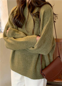 Comfy fall green knit sweat tops plus size high neck knit blouse