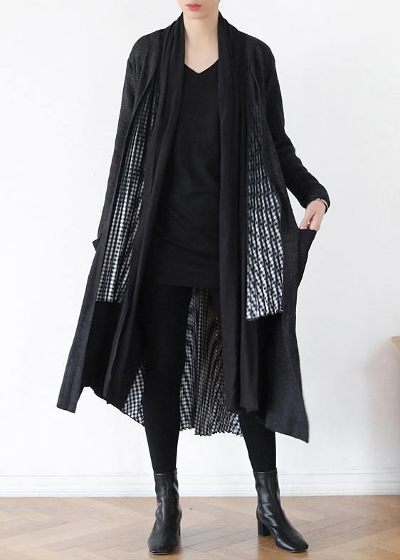 Comfy gray knitted coat fall fashion patchwork knitwear
