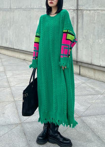 Comfy green Sweater weather DIY o neck Rough edge Mujer knit dresses