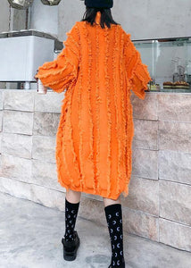 Comfy high neck tassel Sweater fall weather Upcycle orange baggy knitwear